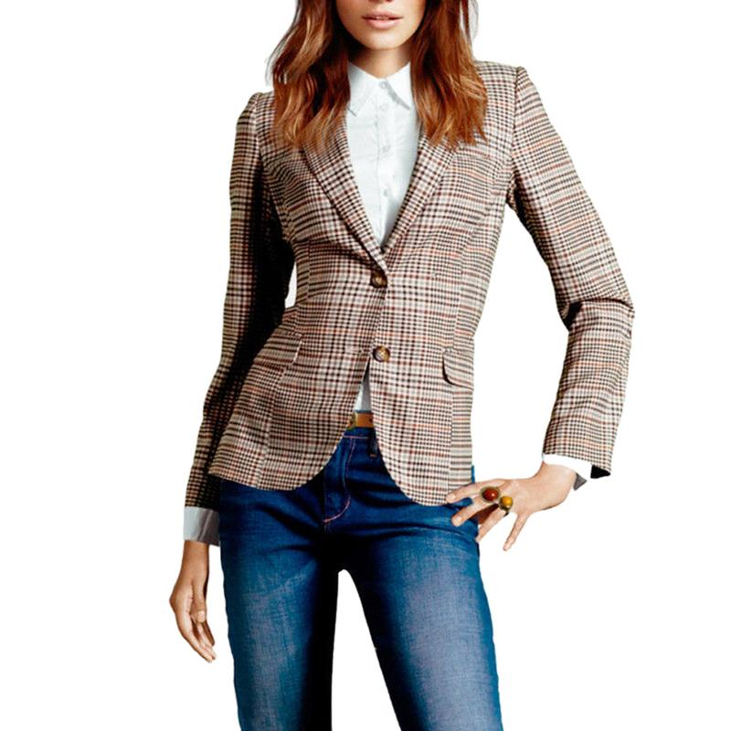 New Autumn Vintage Plaid Blazer Coat Women Long Sleeve Double Breast Pocket Suit Blazer Winter Slim Outerwear Female 2018
