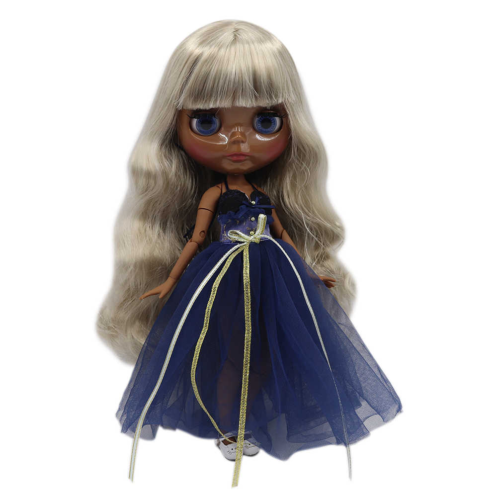 Blyth Telanjang Boneka Sendi Tubuh Abu-abu Perak Rambut Keriting Panjang Super Kulit Gelap 30 Cm Cocok untuk DIY Dijual hadiah SD Mainan dengan Tangan AB