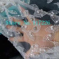 French net lace latest beaded lace fabric with stones JRB 122740 for bridal dress