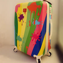 KUNDUI Girls Pull Rod trunk Travel Suitcases Business Travelling Luggage bags Women Waterproof Spinner graffiti Trolley