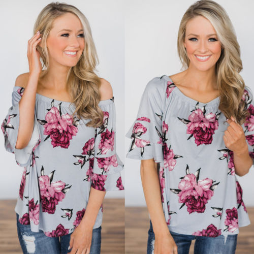 Womens Cold Shoulder Floral T-Shirt Tops Short Sleeve Summer Casual Tee Shirts