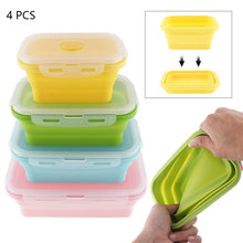 4pcs/set Portable Lunchbox Rectangle Silicone Scalable Folding Bento Box Eco-Friendly Fresh Fruit Food Container Kitchen Tool