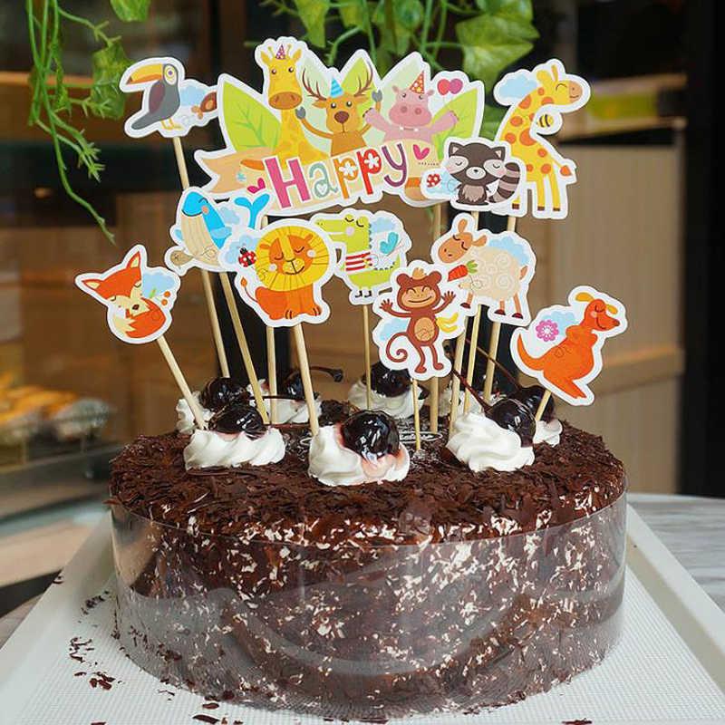 Astounding 11 Pcs Set Kawaii Happy Zoo Animals Cake Toppers Kids Birthday Birthday Cards Printable Giouspongecafe Filternl