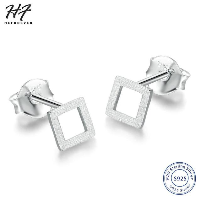 9a3635f88 New Real 925 sterling silver Handmade Trendy Square Shaped Stud Earrings  Jewelry Gift for Women Or Girl Wholesale EY219
