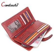 CONTACT'S Echtes Leder Männer Brieftasche Frauen Luxus Marke Geldbörse Weiblichen lange Clutch taschen geldbörse Geld Tasche Rot