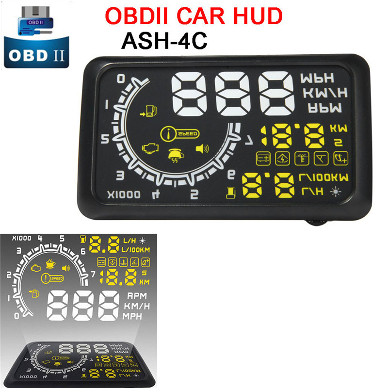 5.5 Screen Auto OBDII Car HUD OBD2 Port Head Up Display KM/h MPH Overspeed Warning Windshield Projector Alarm System+Bracket rastp m9 hud 5 5 inch head up windscreen projector obd2 euobd car driving data display speed rpm fuel consumption rs hud011
