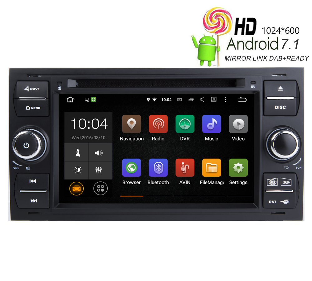 Hiriot car android 7 1 1 sat navi dvd gps player for ford focus transit galaxy fiesta c max radio bt mrroir link 4g wifi map dab