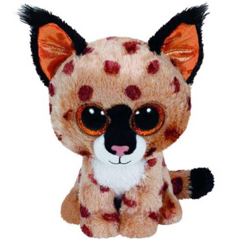 """Ty 6 """"15 cm trigo mourisco o lince plush regular macio de olhos grandes animais de pelúcia selvagem gato coleção boneca brinquedo"""