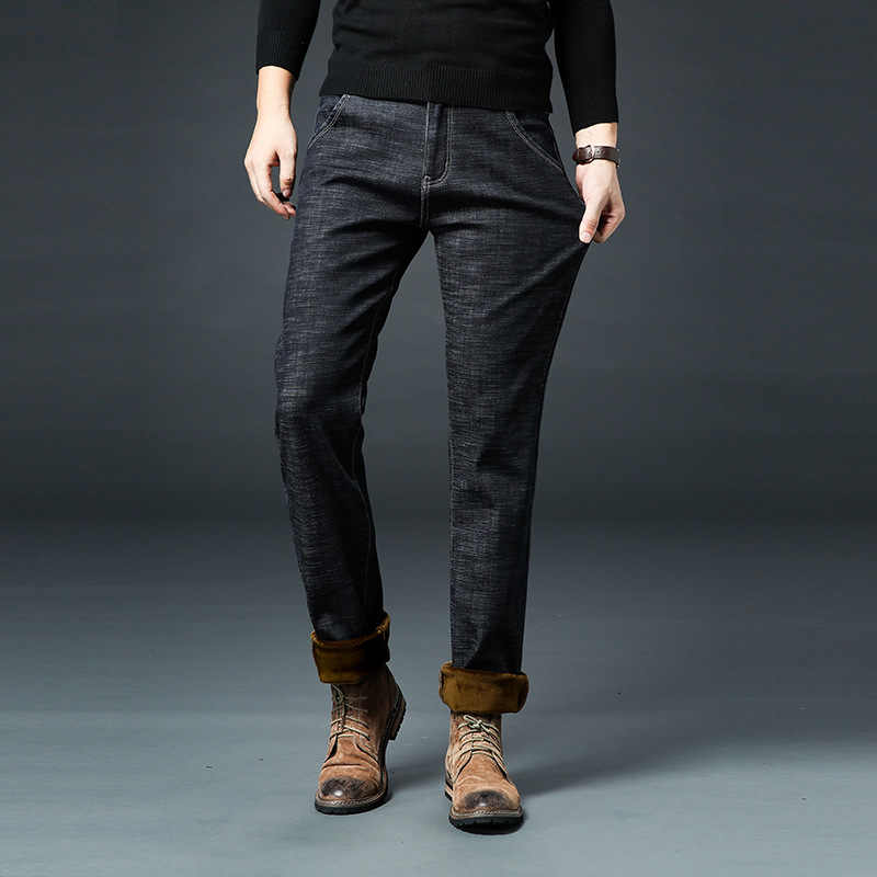 Мужские зимние Утепленные флисовые джинсы стрейч деним теплые джинсы для мужчин дизайнерские брендовые длинные брюки джинсы черный/синий 28-42 брюки