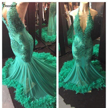 New Sexy Emerald Green Deep V Neck Mermaid Prom Dresses 2018 Arabic Elegant Custom Made Backless Long Evening Gowns Plus Size