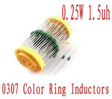 3000Pcs 0307 Color ring inductance 1/4w DIP Inductor 1.5uh Axial Lead Inductors 0.25W 1R5