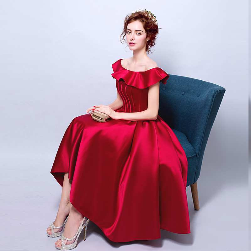 Elegant Off the Shoulder Dark Red Vintage Prom Dress Knee