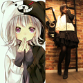 New Arrival Anime Danganronpa Cosplay Costume  Black and white bear  autumn and winter open chain sweater Thin Hoodies clothes