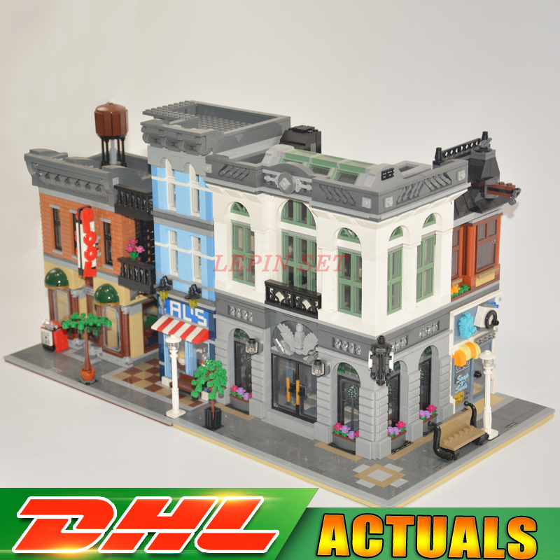 DHL LEPIN 15001 Brick Bank 10251 +15011 The Detectives Office 10197 Model Building Kits Blocks Bricks Toys For Children Gift