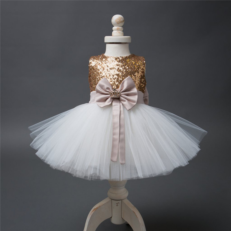 Girls Bowknot Party Gown Formal Dresses Princess Kids Baby Girl Dress Children Clothing Sequins Dresses Costume Handband 2pc 4