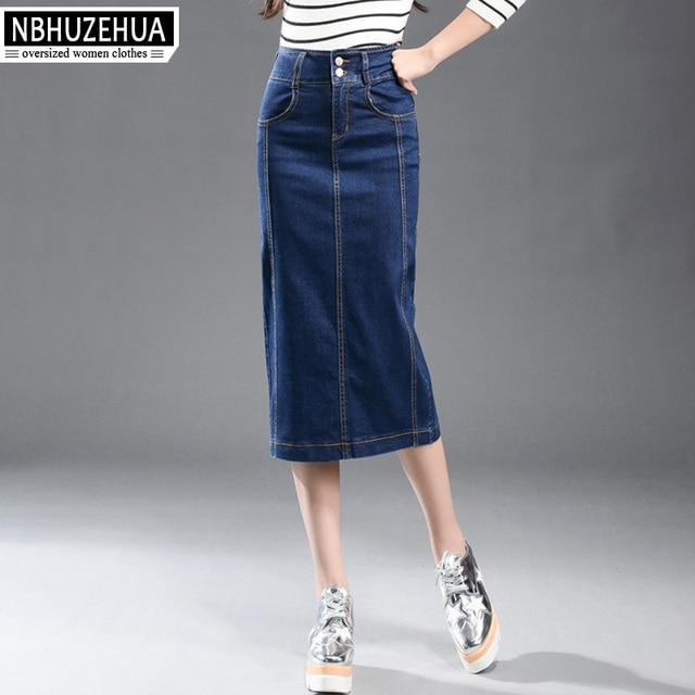 9618a8f1f8146 Full Size 2017 Denim Skirt Vintage High Waist Pencil Saia Blue Slim Women  Skirts Plus Size S-9XL Ladies Office Sexy Jeans QZ1557