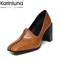 KarinLuna Large Size 32 43 Geniune Leather Strange Style High Heels Women Shoes Woman Office Lady