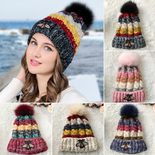 176cc0d8402 NEW Women Knitted Hat Cute Bee Mix Color Pom Pom Cap Winter Plus Cashmere  Thick Warm Crochet Hats Casual Skullies Beanies Gorro