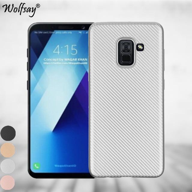 Cas D'argent De Silicone De Carbone Pour Samsung Galaxy A8 (2018) evgPrU4KDP