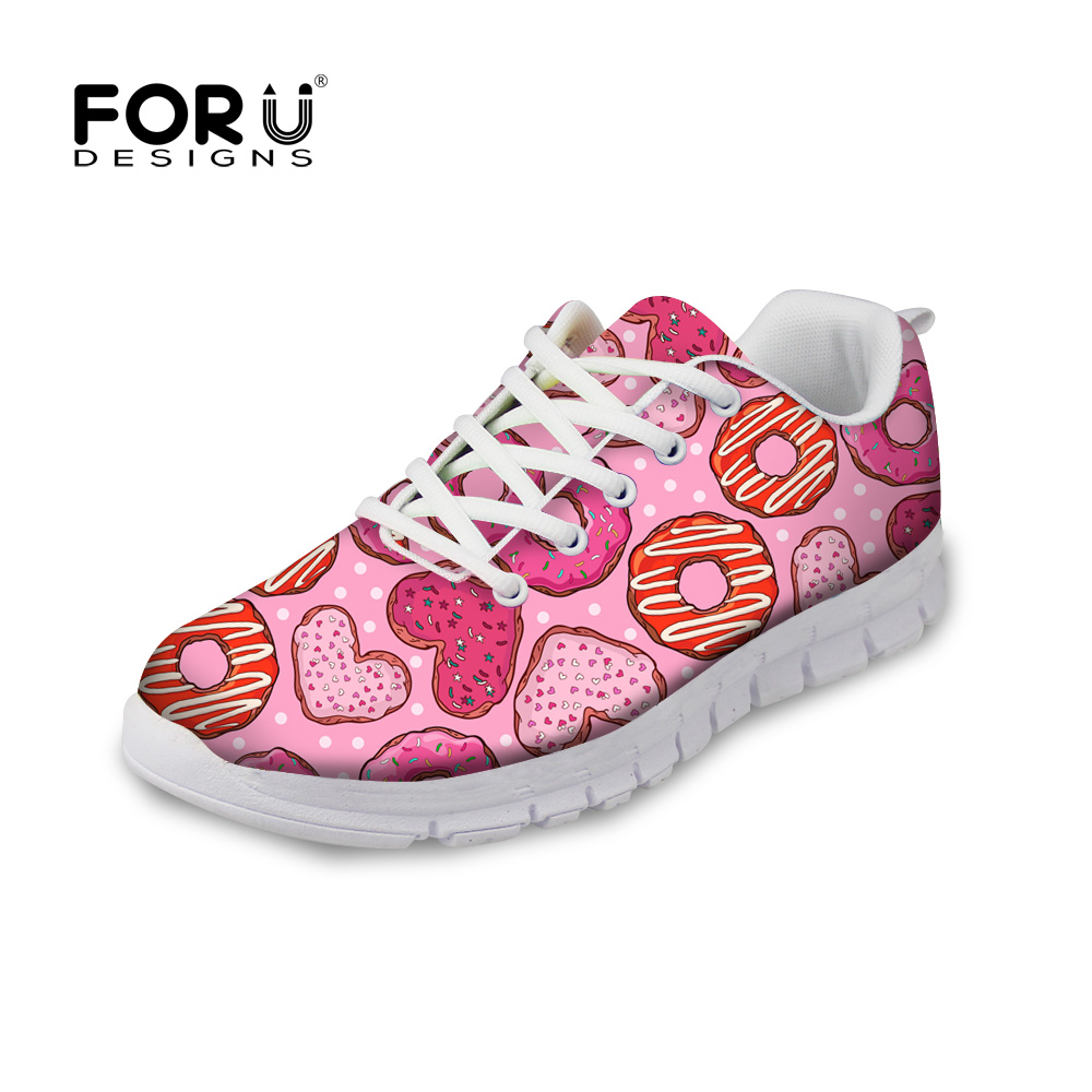 FORUDESIGNS Pink Autumn Women Flat Shoes 3D Donuts Printed Lace-up Casual Shoes Flats Lace-up Leisure Shoes for Ladies Teenage forudesigns sweet donuts pattern women autumn casual flat shoe fashion pink female breathable comfortable shoes for ladies flats