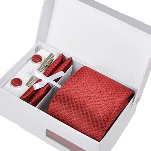 2016 new leisure men interview gravata male red mariage necktie formal business kravat gent wedding cufflink hanky neck tie set