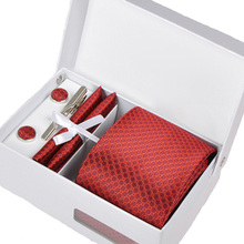 2016 new leisure men interview gravata male red mariage necktie formal business kravat gent wedding cufflink hanky neck tie set