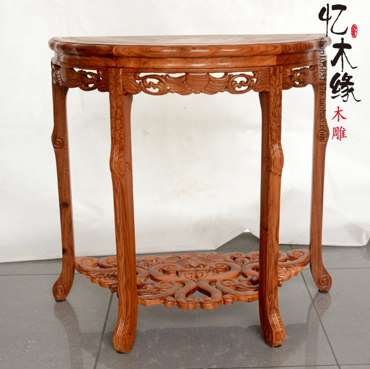Dongyang rosewood furniture, solid wood, rosewood, half round table, porch table, crescent table, half moon table, simple wall t half moon run half moon run sun leads me on lp