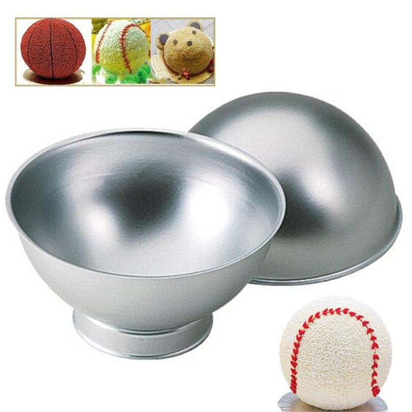 Moda diy 2 unids esfera de la bola de estaño molde para hornear de aluminio Mold