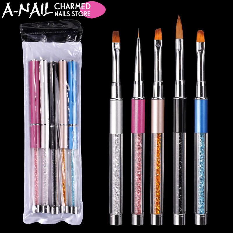 5pcs/set Nail Art Brush Pen Rhinestone Diamond Metal Acrylic Handle Carving Powder Gel Liquid Salon Liner Nail Brush With Cap