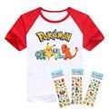 T-shirt camisa pokemon bonito meninos roupas de manga curta padrão dos desenhos animados de algodão meninos roupas Pikachu Charmander crianças camisetas