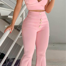Two piece set women Flare pants crop tops sets