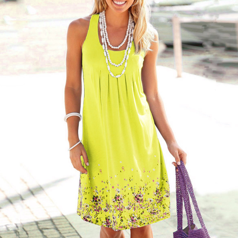 Mode Boho femmes sans manches Floral été plage robe vacances robe d'été GM 1
