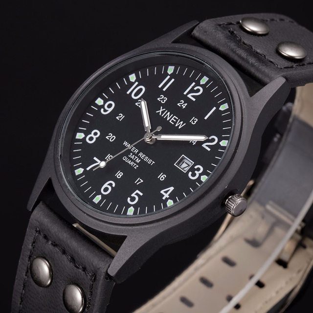 Men Watches relogio masculino Classic Men's Waterproof Date Leather Strap Sport Quartz Army Watch Men Cool montre homme