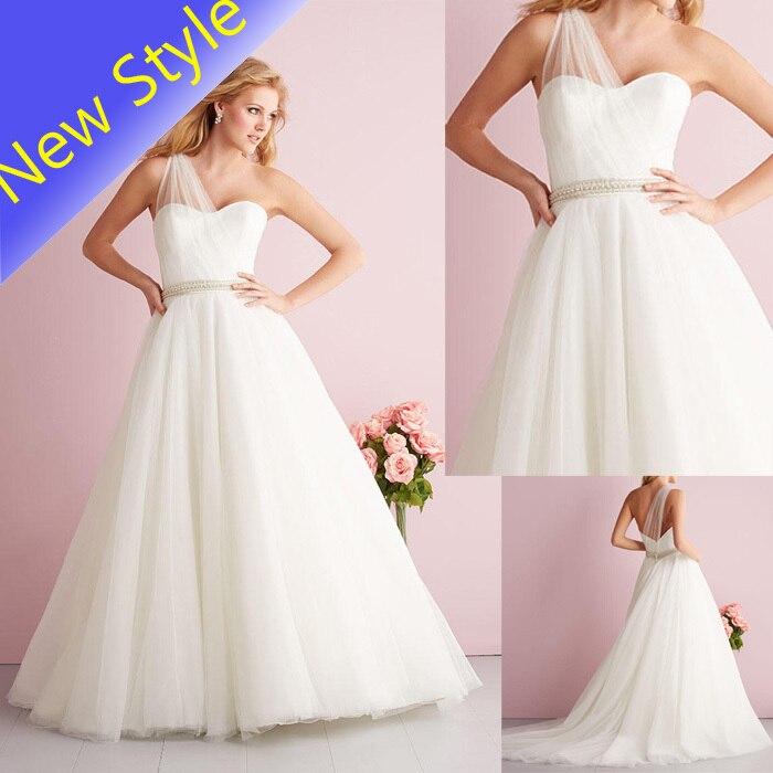 Us 122 0 Beauty Simple One Shoulder Plain Bridal Tulle Net Skirt Wholesale Wedding Dresses 2016 For Brides Vestido De Noiva B10 In Wedding Dresses