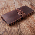Handmade  High Quality Vintage Long Crazy Horse Leather Men Wallets Real Cowhide Genuine Leather Wallet Purse.Best Gift