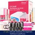 27pcs Nail Art Manicure Tools 36W UV Lamp+3Color Soak Off nail Gel Base&Top Coat Polish with Remover Practice set File kit Z20