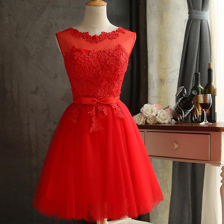 DEERVEADO халат Коктейльные Вечерние платье элегантное платье с низким вырезом на спине Короткие коктейльные платья с регулируемой шнуровкой на спине, платье для выпускного вечера CH604B - Цвет: Красный