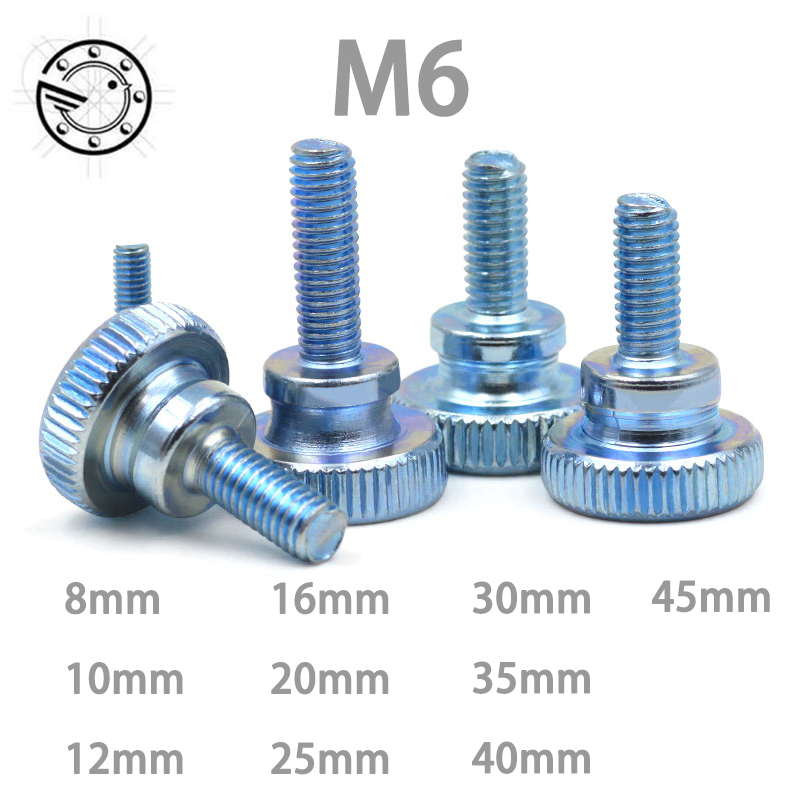 10pcs GB834 M6 M6*(8/10/12~45) MM Carbon Steel thumb screw with collar round head with knurling manual adjustment screws bolt m6 m6 12 0 8 m6x12x0 8 m6 12 1 m6x12x1 din7603 insulation gasket shim crush ring seal red steel paper washer