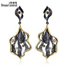 DreamCarnival 1989 Elegant Leaf design Vintage Style Earings Black Gold Color CZ Drop Brincos Zirconia Party Earrings ZE52807