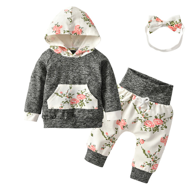 20f3cb0b54343 US $9.86 26% OFF|Brand Newborn Baby Girls New Infant Toddler Floral Outfit  Clothes Tracksuit Hooded Tops Leggings Pants Headband 3PCS Sets-in Clothing  ...