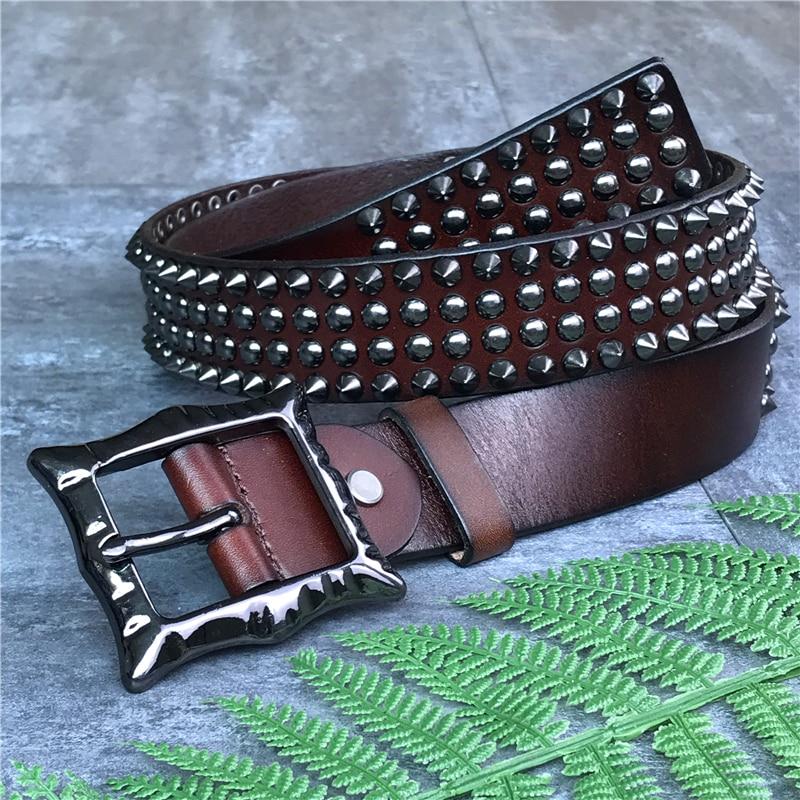Genuine Leather Heavy Metal Rivet Punk Belts For Men Rock Stud Cowboy Belt Men Ceinture Homme