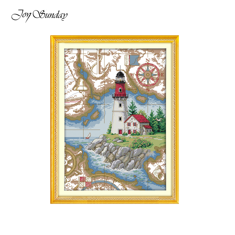 Joy Sunday Lighthouse Scenic Painting Pattern DMC 11 14CT Counted Chinese Cross Stitch Kit Printed For Embroidery Needlework Set