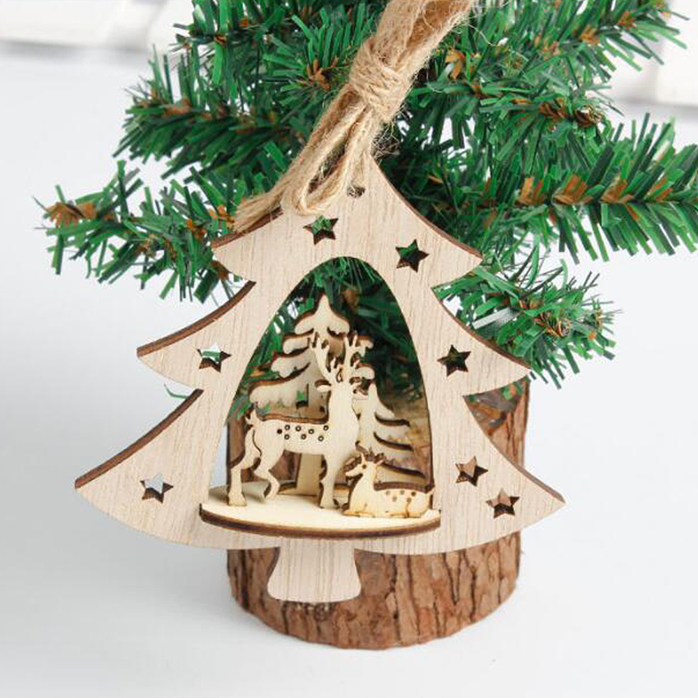 Snowflake Wood Embellishments Rustic Christmas Tree ...