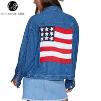 Lily Rosie Girl Casual American Flag Denim Jacket Star Embroidery Womens Long Sleeve Jeans Coat Autumn Winter 2017 Basic Jackets