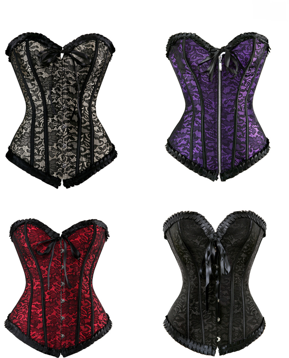 Sexy Satin Floral Gothic Lace Up Boned Overbust Corset Bustier Waist Trainer  Plus Size S-2XL With G-string
