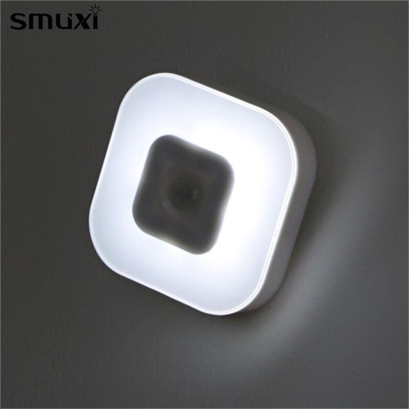 Mrosaa Night Light Intelligent 8 LED Battery Powered PIR Motion Sensor Lamp Indoor Lighting for Bedroom Bedside Cabinet Wardrobe