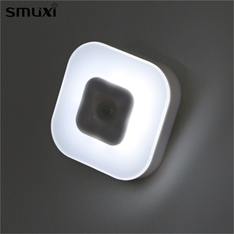 Smuxi Night Light Intelligent 8 LED Battery Powered PIR Motion Sensor Lamp Indoor Lighting for Bedroom Bedside Cabinet Wardrobe tsleen 1x cabinet pir motion sensor led cupboard shed garage light usb battery powered