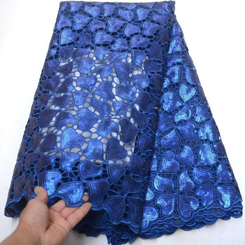 Free shipping (5yards/pc) high quality royal blue African sequins lace handcut organza lace fabric for party dress OP004