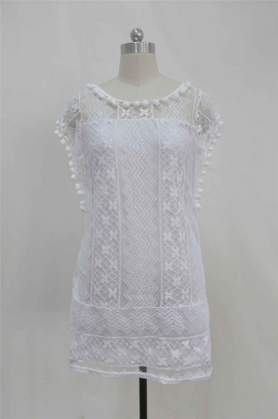 White Lace Sleeveless O-Neck Sexy Hollow Out Mini Dress 3