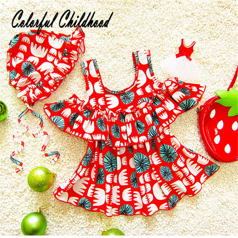 Hot sale Baby Girls swimsuit Red floral print bathing Sets toddler baby Beachwear children clothes summer